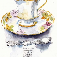 Paragon China Teacup watercolour on paper