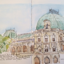 Queensland Parliament House_ink and watercolour_carolleebeckx.com