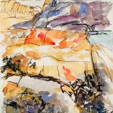 Rocks at Coolum Beach - mixed media
