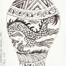 bouganvillea_ink-watercolour_-chinese-vase_ink_carolleebeckx-com_