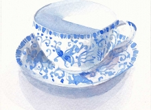 Blue and white Teacup watercolour on paper