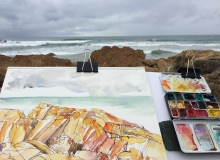 Sketching at Coolum Beach - ink and watercolour