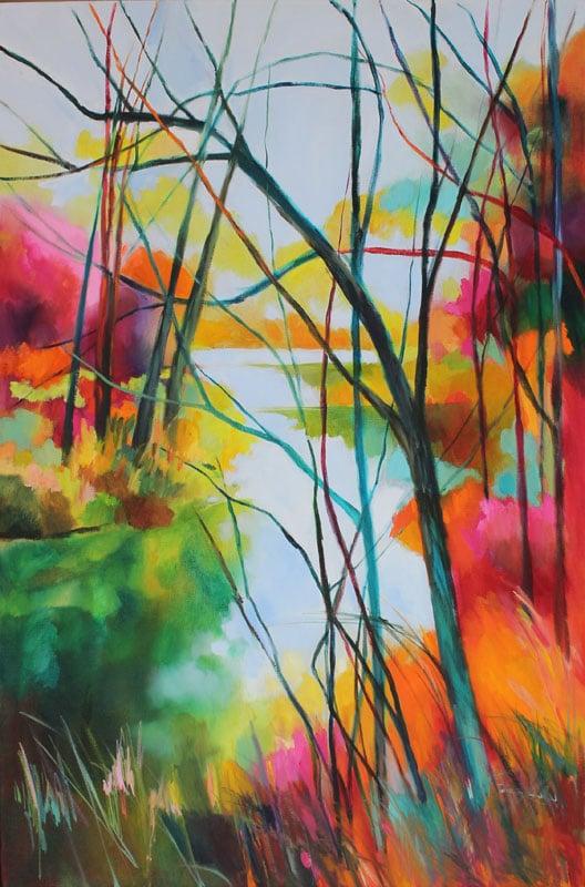 Riverside Trees - oil on linen