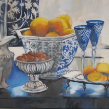 Blue Porcelain and oranges - oil on canvas - 500mm x 1115mm