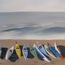 Paddleskis - oil on canvas - 610mm x 750mm