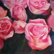 Pink Roses - Oil on canvas 700mm x 700mm SOLD