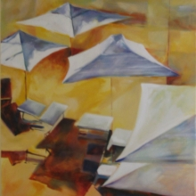 Umbrella Shadows -oil on canvas - 1016mm x 762mm