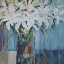 White Lilies - Oil on canvas 900mm x 610mm SOLD