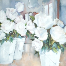 Buckets with White Roses I - oil on canvas - 760mm x 1010mm