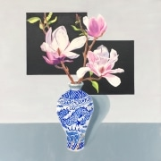 Dragon Vase with kintsugi and Magnolias_oil on canvas_carolleebeckx.com