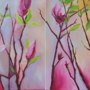 Magnolia Diptych - oil on canvas 2 x 500mm x 500mm