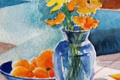 Poppies in a Blue Vase - watercolour on paper on paper
