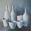 Cups and Bottles- - Oil on canvas 610mm x 760mm