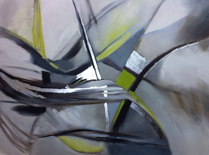 Silver, Grey and Lime oil on canvas