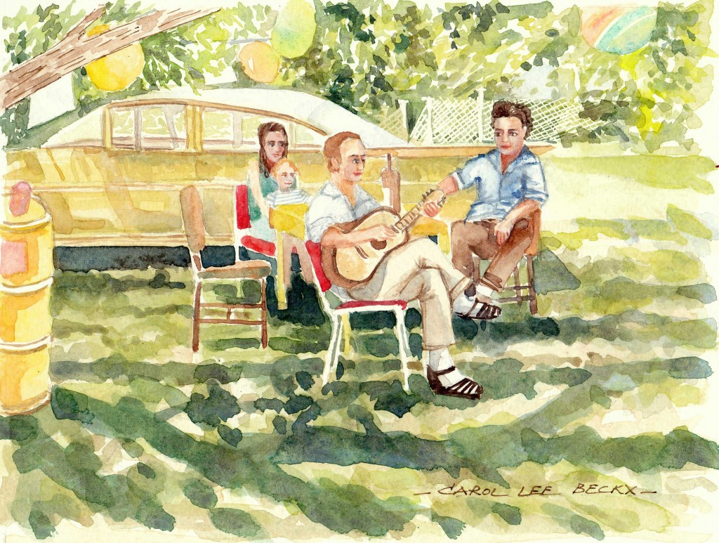 Family Picnic under the Trees - watercolour on paper