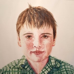 Portrait of a Boy watercolour on Ampersand Claybord 250mm x 250mm